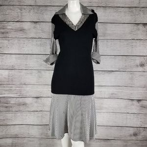Bebe midi career dress w faux black sweater-vest M
